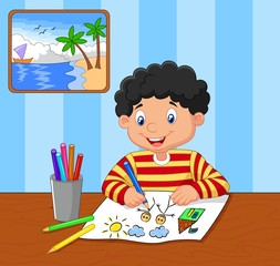Cartoon little boy drawing