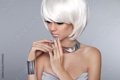 Aluminium Blonde Bob Hairstyle. Fashion beautiful young girl in luxurious
