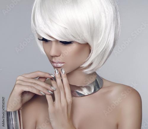 Aluminium Fashion model girl face. Bob white short hairstyle. Beauty woman