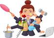 Cartoon multitasking housewife - 79566130