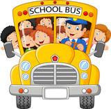 Fototapety School Kids Riding a School Bus