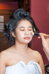 Asian Thai Girl Getting Makeup Foundation