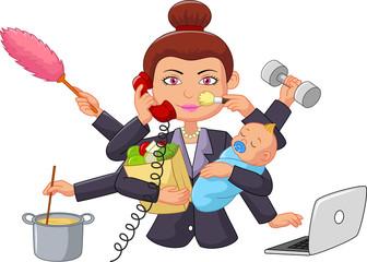 Cartoon multitasking housewife