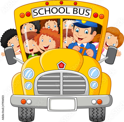School Kids Riding a School Bus - 79566123
