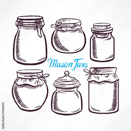 sketch mason jars - 79566335