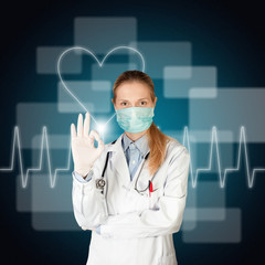 doctor woman with electrocardiogram