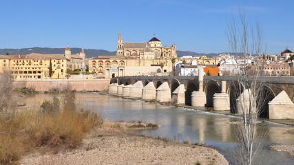 old roman bridge and Cordoba mosque