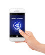 hand holding mobile phone with mobile payment isolated over whit
