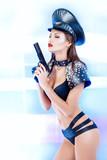 charming police girl poster