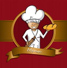 Baker chef cartoon badge menu design