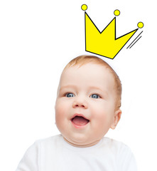 close up of happy smiling baby with crown doodle