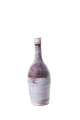 Shabby bottle on white background