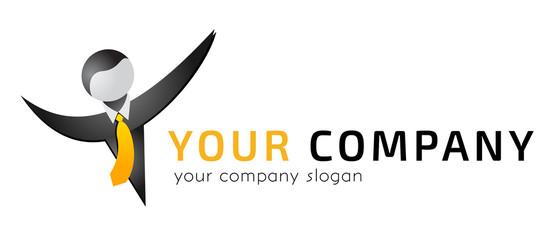 Logo template, vector, businessman in a tie