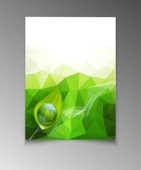 vector abstract template brochure for business with green tria