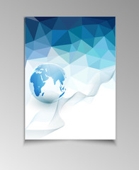vector abstract template brochure for business with blue triangl