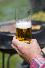 Grill  and glass of beer