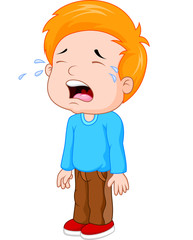 Illustration of a young boy crying