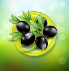 vector background with black olives on a green plate