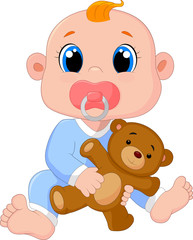Baby Boy With Pacifiers and Toys