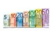 Leinwanddruck Bild - Euroscheine in einer Reihe vor weißem Hintergrund