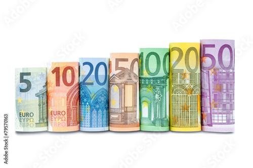 Leinwanddruck Bild Euroscheine in einer Reihe vor weißem Hintergrund