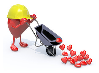 heart with arms, legs and workhelmet carries a wheelbarrow heart