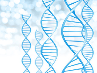 Biotechnology and genetic data concept of helix DNA strings