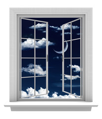 Open window with a crescent moon and clouds in a night sky