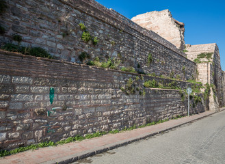 City walls of Istanbul and paving, Theodosius stone wall