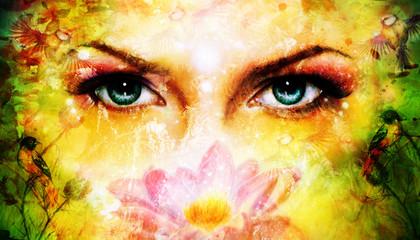 blue women eyes beaming up enchanting from behind a blooming ro