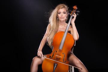 Sexy musician with cello.