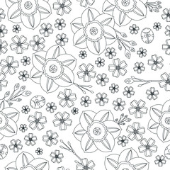 Floral spring seamless vector background