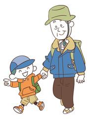 ハイキングする孫とおじいちゃん