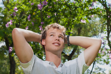 young man in a garden in the relaxation