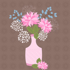 Blooming flowers in vase - vector floral background