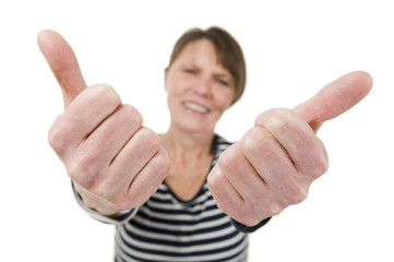 mature woman double thumbs up