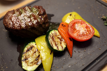 Filet mignon with vegetables