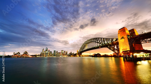 Leinwanddruck Bild Sydney Harbor Panorama at twilight