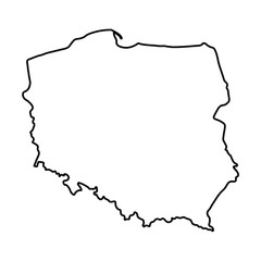 black abstract outline of Poland map