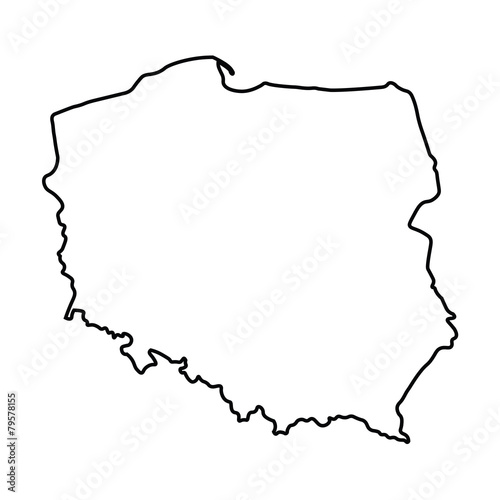 black abstract outline of Poland map - 79578155