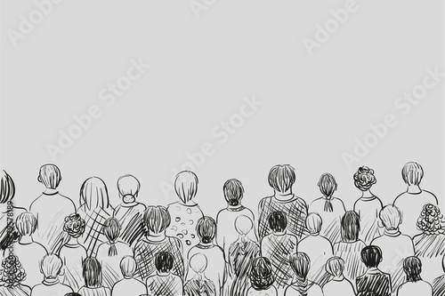 sketch of people crowd - watching and listening - 79578189