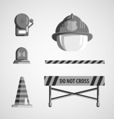 Set of flat black and white monochrome vector icons on light bac