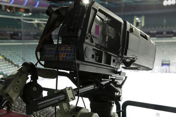 TV camera for broadcast hockey