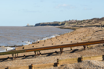 Herne Bay beach and Reculver Towers