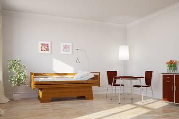 Zimmer mit Bett im Altenheim