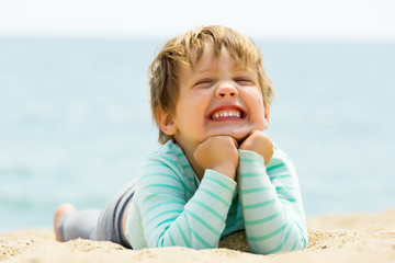 laughing girl  on  beach