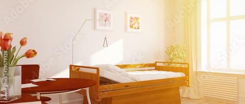 Leinwandbild Motiv Sonniges Einzelzimmer im Pflegeheim