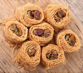Eastern dessert baklawa with pistachio nuts