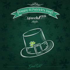 Green card for St. Patrick's Day with hat