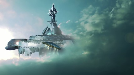 UFO approaching a gigantic mother-ship in the clouds